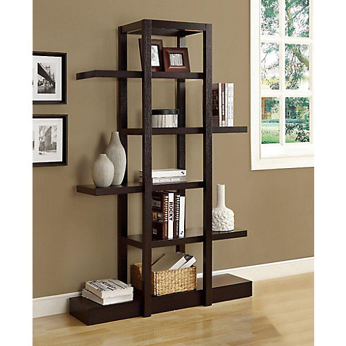 47.25-inch x 71-inch x 14.25-inch Manufactured Wood Cubed Bookcase in Brown