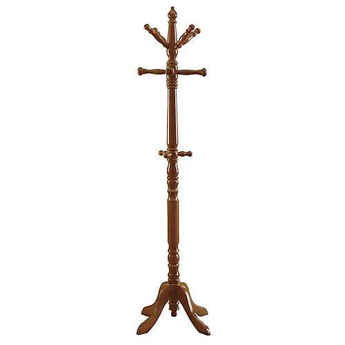 73-inch H Traditional Wood Coat Rack in Oak