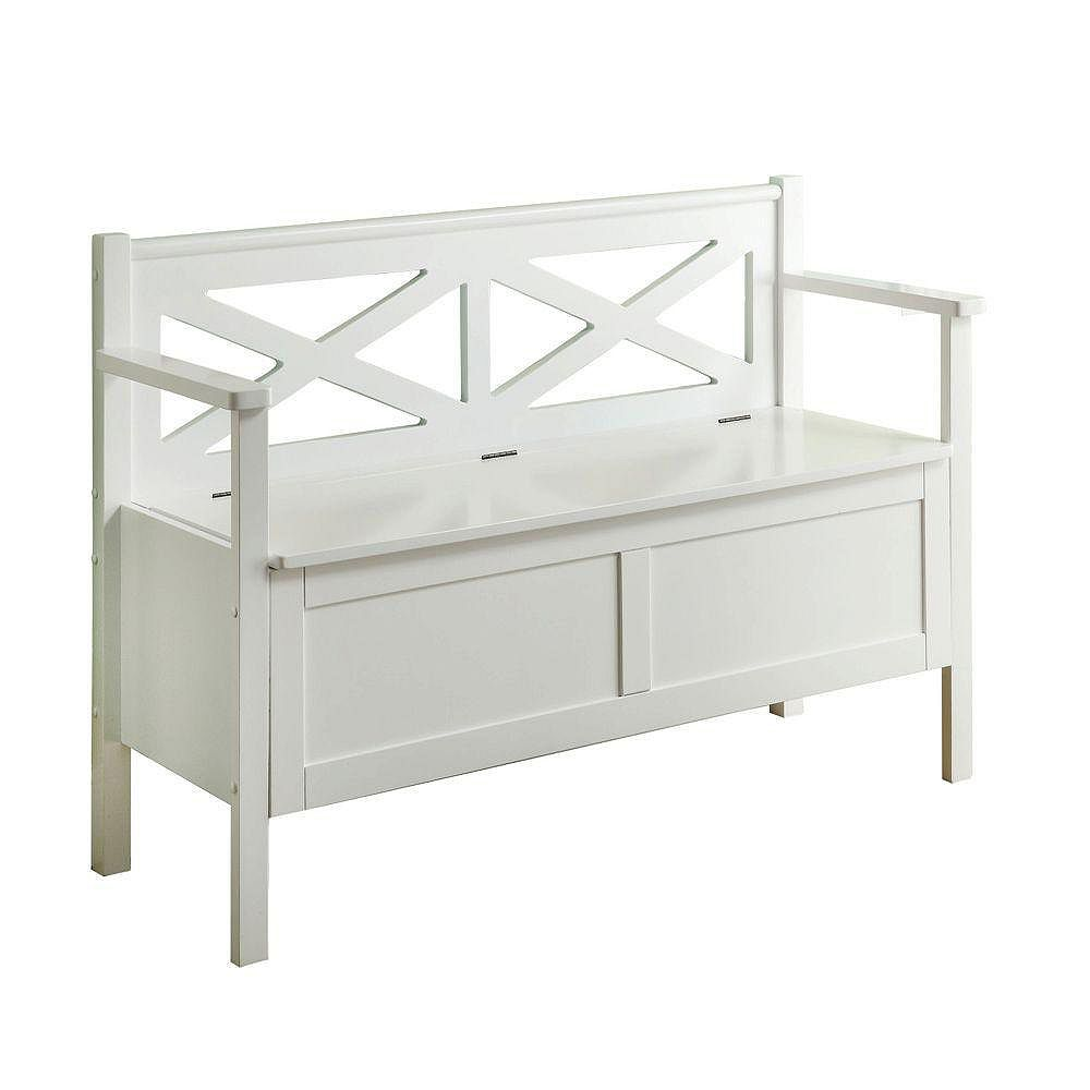 Monarch Specialties 50-inch x 31-inch x 17-inch Solid Wood Frame Bench in White
