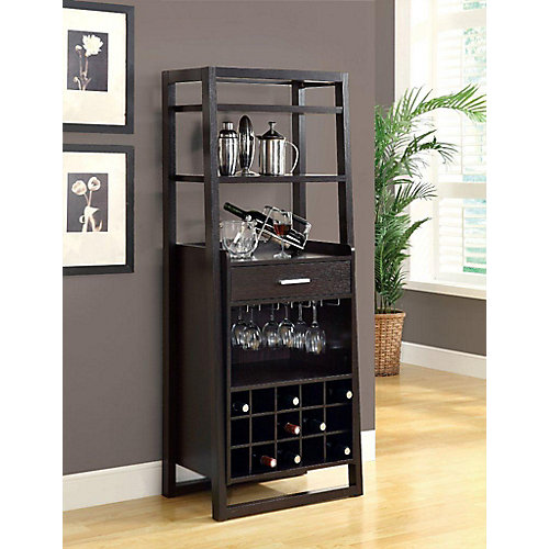60-inch H Ladder Style Home Bar with Wine Rack in Cappuccino