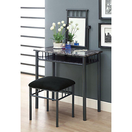 Bedroom Vanity Set in Grey Marble and Charcoal (2-Piece)