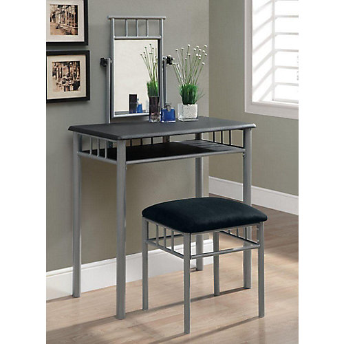 Bedroom Vanity Set in Black & Silver (2-Piece)