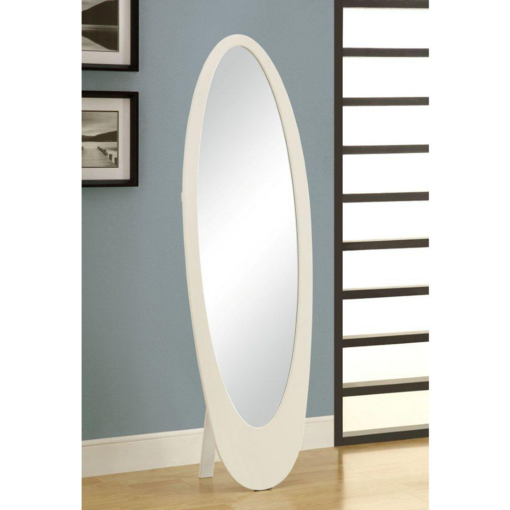 """Monarch Specialties Mirror - 59""""H / White Contemporary Oval Frame"""