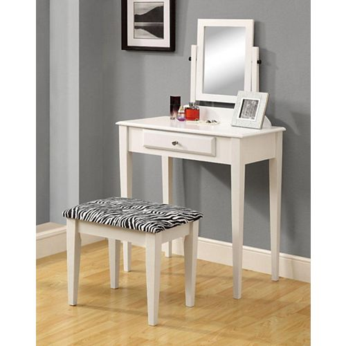 Vanity Set - 2-Piece Set / White With A Zebra Fabric Stool