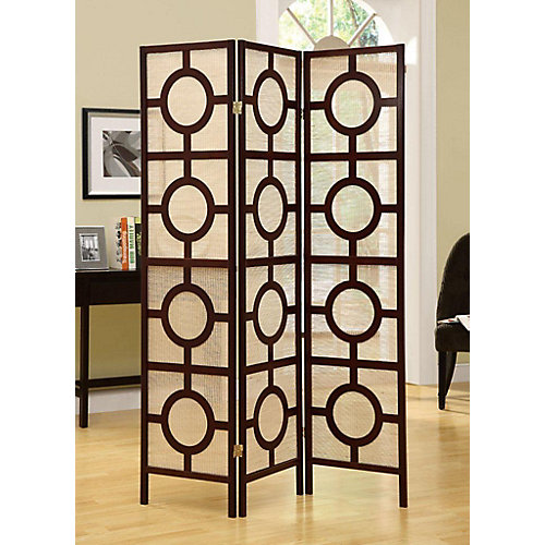 3-Panel Folding Screen Room Divider with Circle Design Frame in Cappuccino