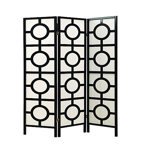 3-Panel Folding Screen Room Divider with Circle Design Frame in Black