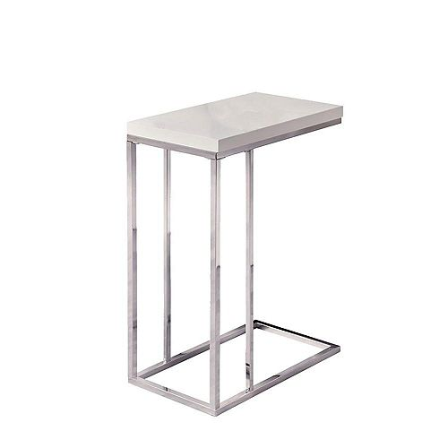 Table D'Appoint - Blanc Lustre / Metal Chrome