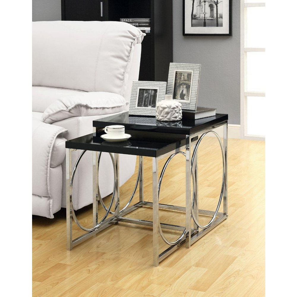 Monarch Specialties Glossy Black / Chrome Metal 2-Piece Nesting Table Set