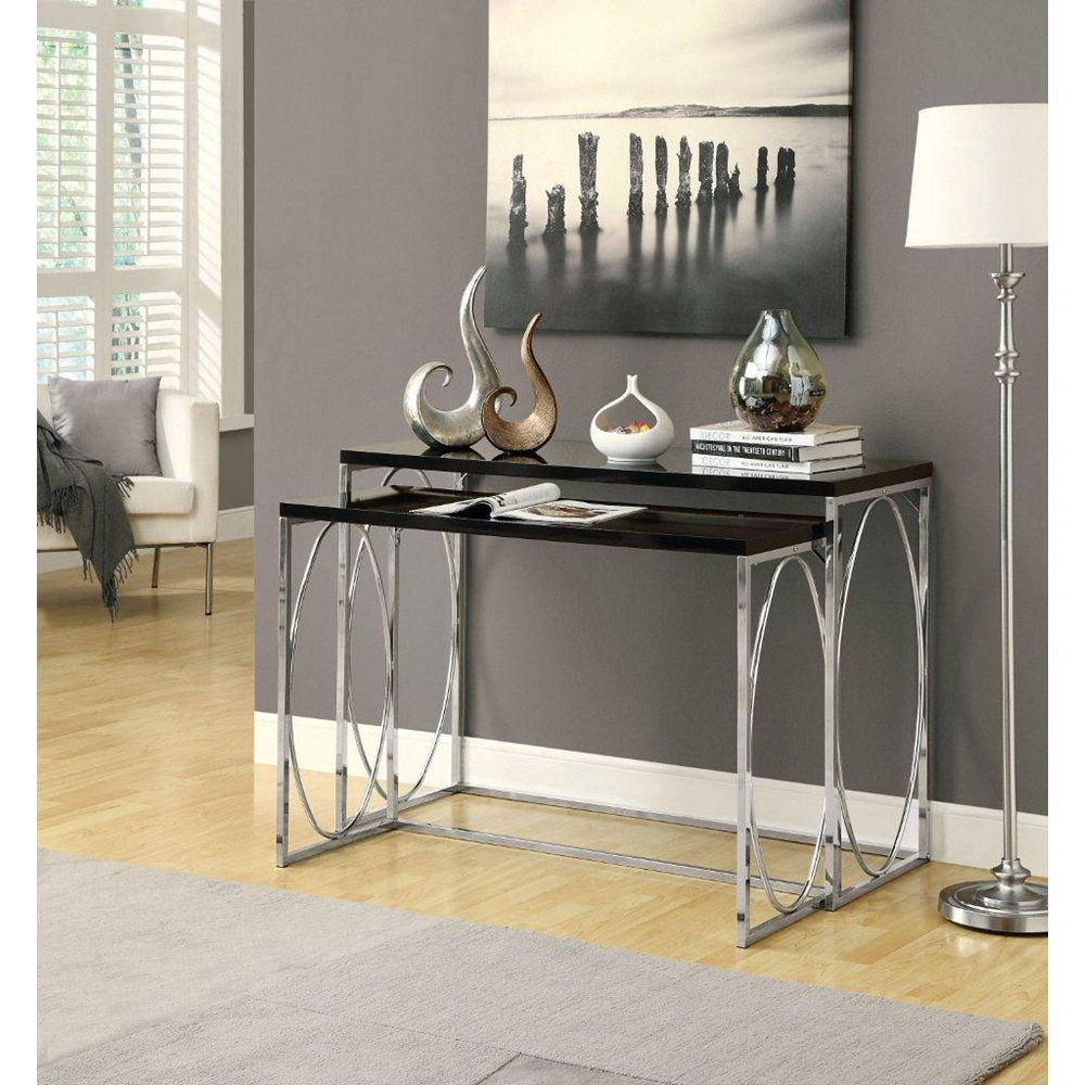 Monarch Specialties Glossy Black / Chrome Metal 2-Piece Console Table Set