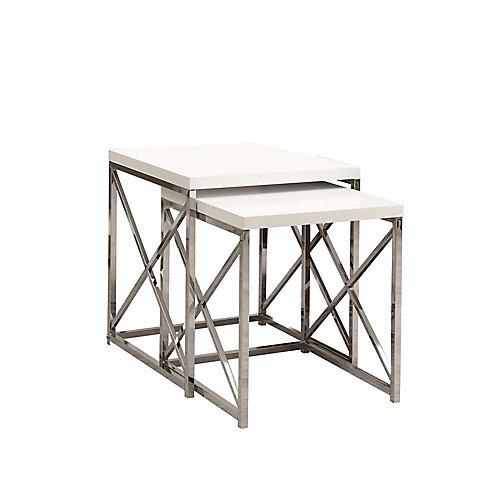 Tables Gigognes - Ens. 2Pcs / Blanc Lustre / Chrome
