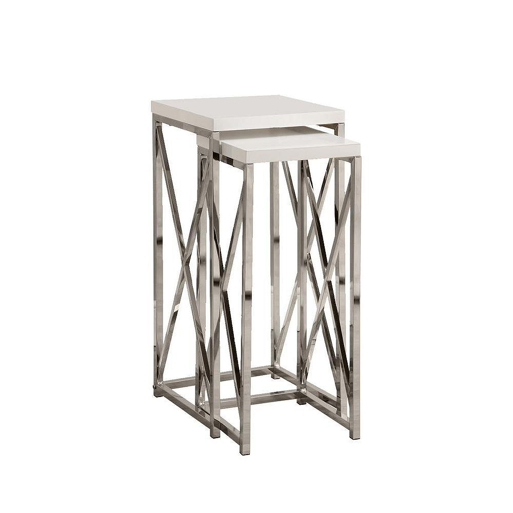 Monarch Specialties Accent Table - 2-Piece Set / Glossy White / Chrome Metal