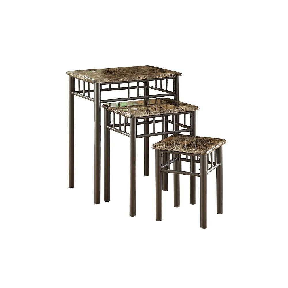 Monarch Specialties Tables Gigognes - Ens. 3Pcs / Metal / Marbre Cappuccino