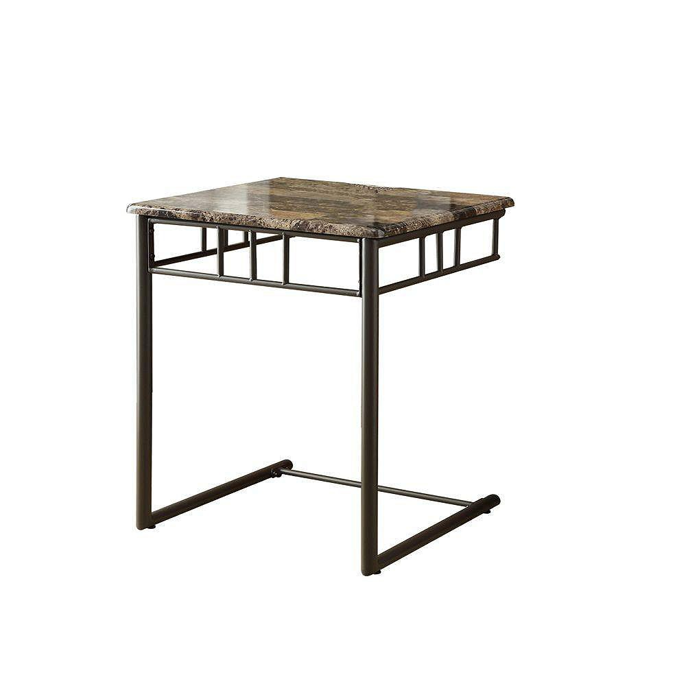 Monarch Specialties Marble-Look Accent Table in Bronze & Cappuccino
