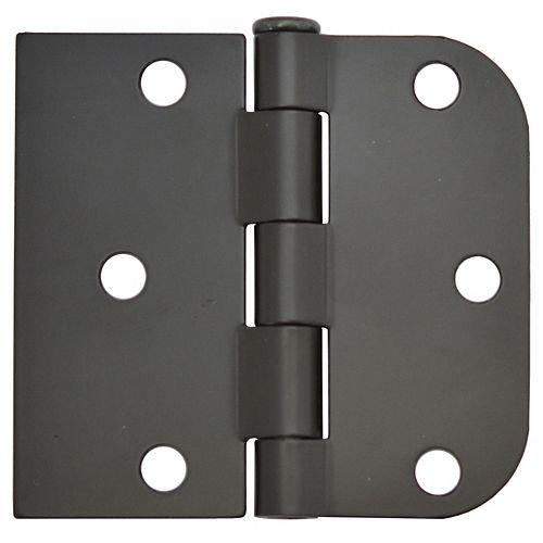 Charnière de porte réversible 3 pouces x 3-3/16 pouces, noire, 2pk