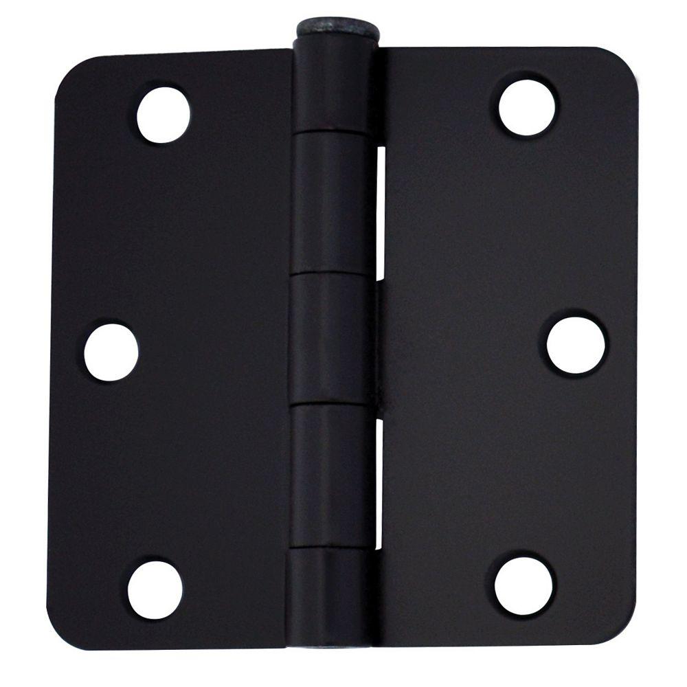 Everbilt 3-pouces avec 1/4-Radius charnière de porte, Noir, 2pk