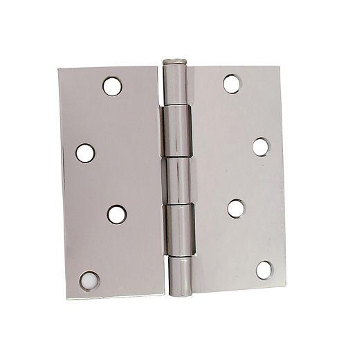 4-inch Bright Nickel Door Hinge (2-Pack)