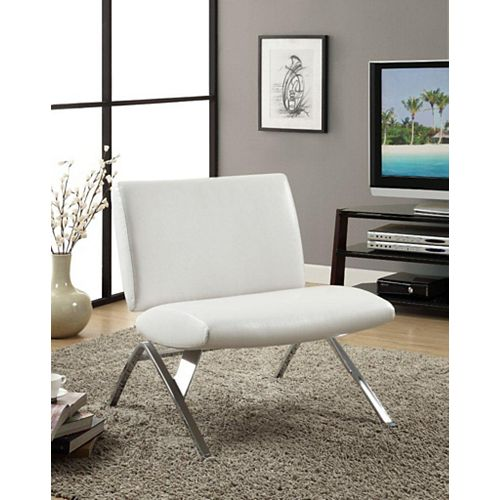 Leather-Look Accent Chair in White with Chrome Base