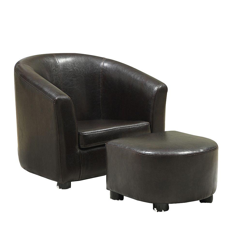 Monarch Specialties Juvenile Chair - 2-Piece Set / Dark Brown Leather-Look