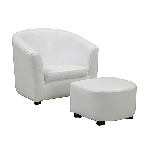 Juvenile Chair - 2-Piece Set / White Leather-Look Fabric