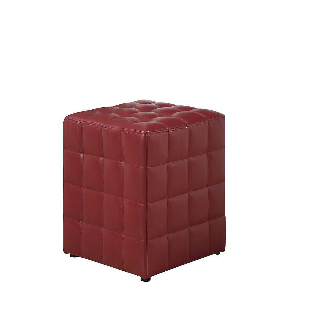 Monarch Specialties 16.5-inch x 17.5-inch x 16.5-inch Faux Leather Ottoman in Red