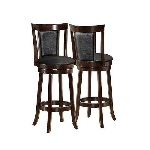 Monarch Specialties 43-inch H Swivel Barstool in Cappuccino (2-Piece)