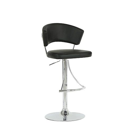Leather Metal Chrome Contemporary Low Back Armless Bar Stool with Black Faux Leather Seat