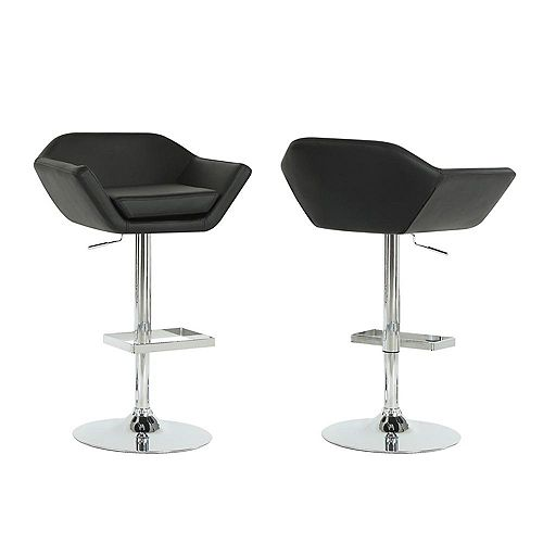 Leather Metal Chrome Contemporary Low Back Bar Stool with Black Faux Leather Seat (Set of 2)