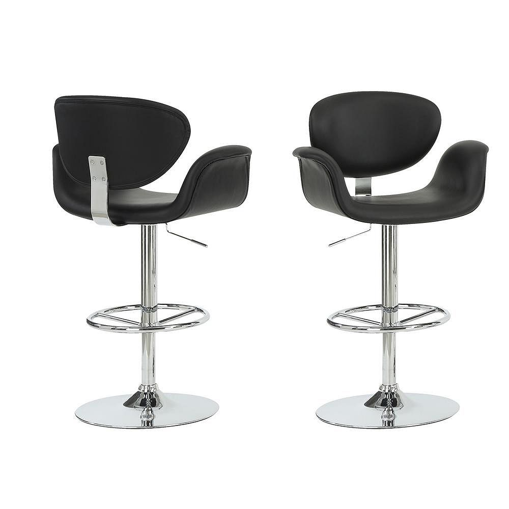 Monarch Specialties Leather Metal Chrome Contemporary Full Back Bar Stool with Black Faux Leather Seat