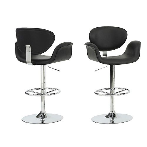 Leather Metal Chrome Contemporary Full Back Bar Stool with Black Faux Leather Seat