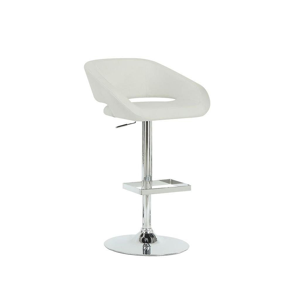 Monarch Specialties Leather Metal Chrome Contemporary Low Back Bar Stool with White Faux Leather Seat