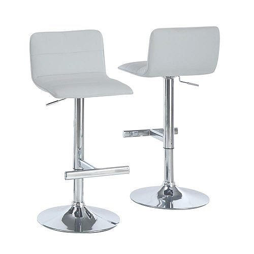 Leather Metal Chrome Contemporary Low Back Armless Bar Stool with White Faux Leather Seat (Set of 2)