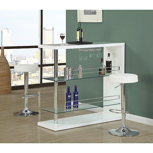 Leather Metal Chrome Contemporary Backless Armless Bar Stool with White Faux Leather Seat (Set of 2)