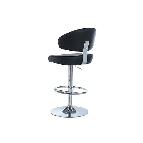 Leather Metal Chrome Contemporary Full Back Armless Bar Stool with Black Faux Leather Seat