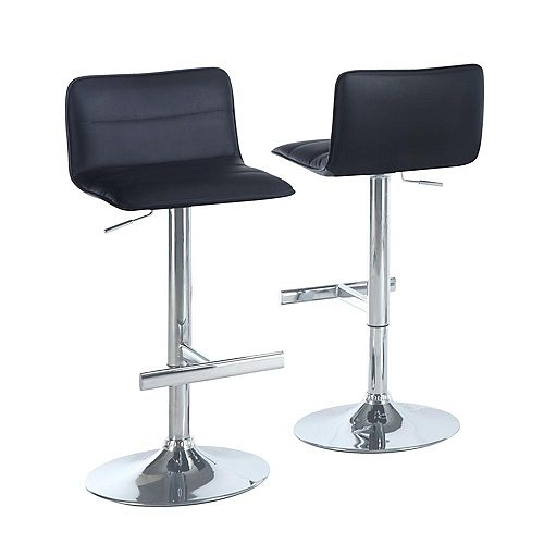 Leather Metal Chrome Contemporary Low Back Armless Bar Stool with Black Faux Leather Seat (Set of 2)