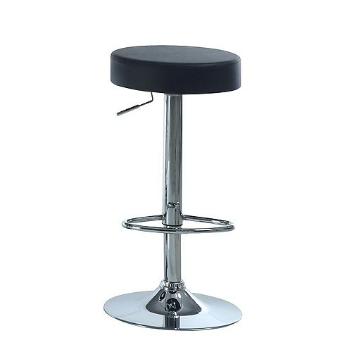 Leather Metal Chrome Contemporary Backless Armless Bar Stool with Black Faux Leather Seat (Set of 2)