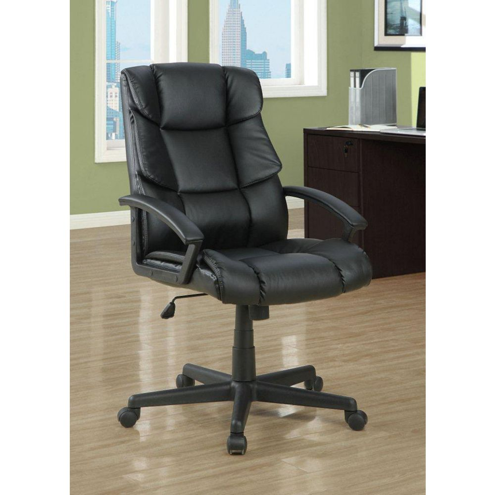 """Monarch Specialties Black Leather-Look """"Scale Back"""" Office Chair"""