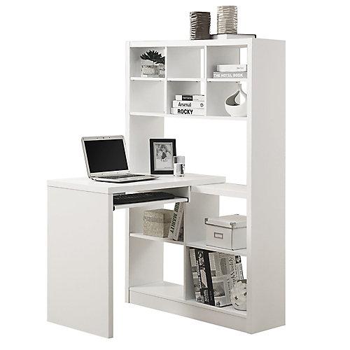 Bureau d'ordinateur en coin, 37,9po x 60,25po x 35,5po, blanc