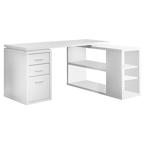 60-inch L Adjustable L-Shaped Desk with Storage in White