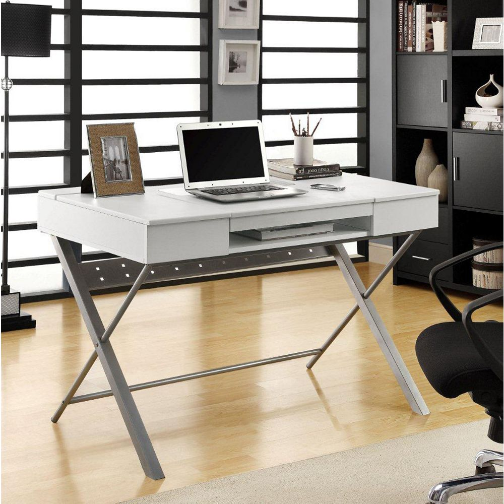 "Monarch Specialties White Hollow-Core ""Connect-It"" 48 Inch L Tablet Desk"