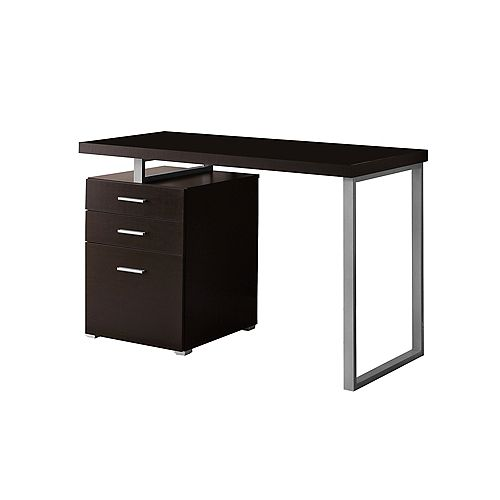 48-inch W 3-Drawer Reversible Computer Desk in Cappuccino