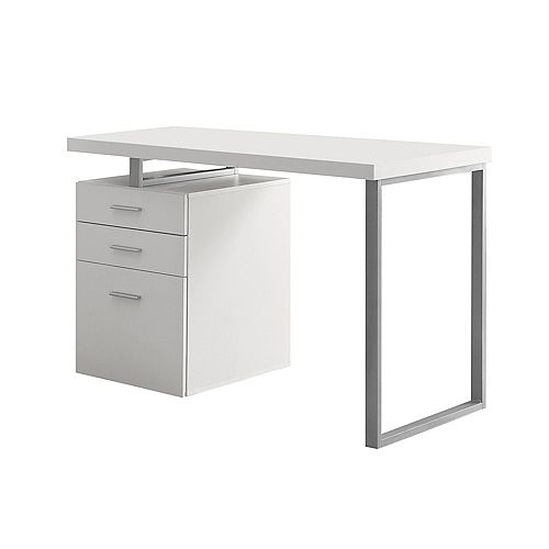 Computer Desk - 48 Inch L / White Left Or Right Facing