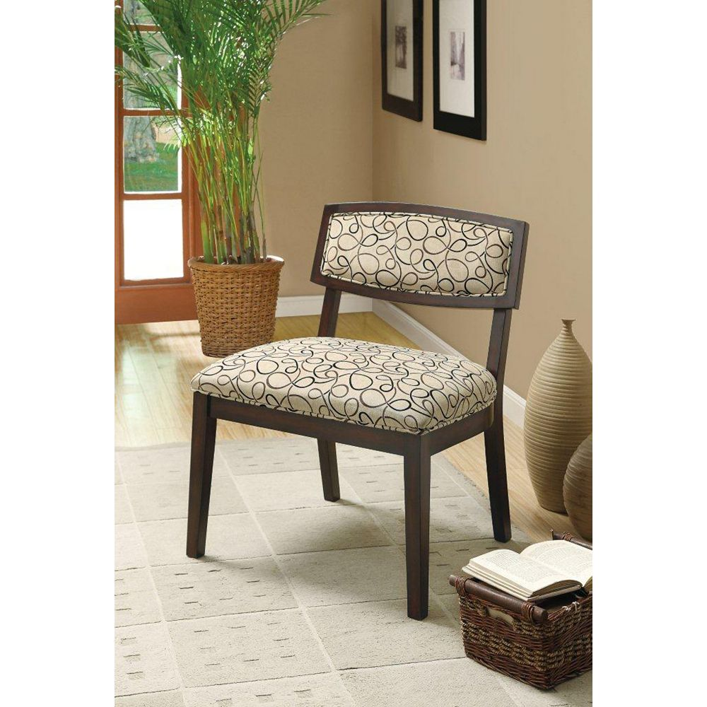 Monarch Specialties Tan Swirl Fabric / Cappuccino Accent Chair