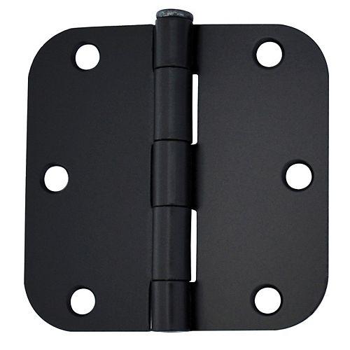3-1/2-in with 5/8-Radius Door Hinge, Black, 2pk