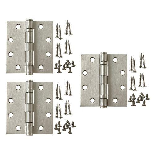 4-1/2 Inch X4 Inch Satin Nickel Comm Hinge (3-Pack)