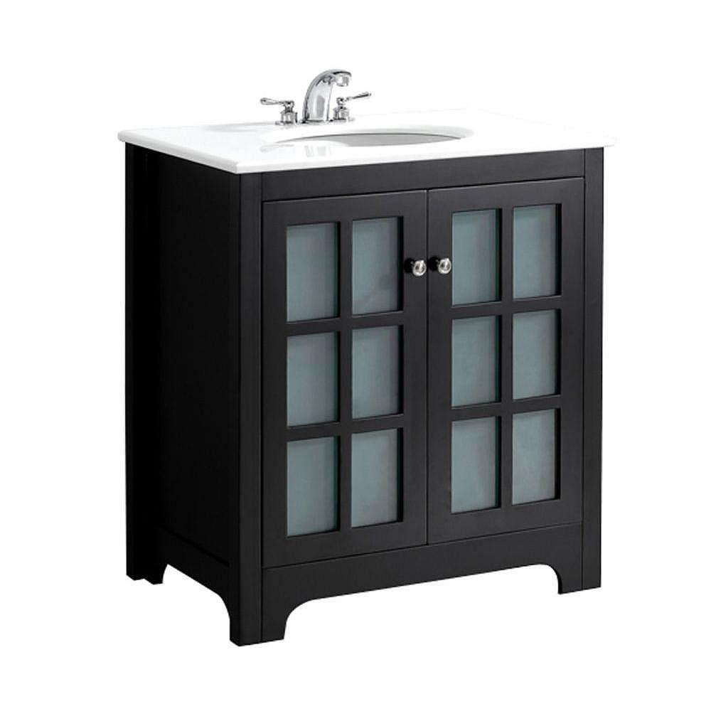 Simpli Home Orleans 30-inch W Vanity in Black