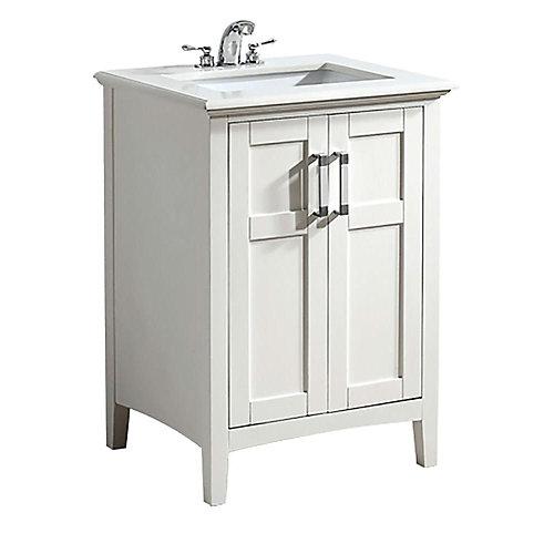 Meuble-lavabo Winston de 24 po, blanc doux