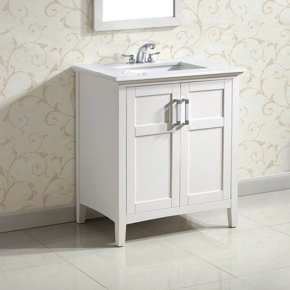 Simpli Home Winston 31-inch W 2-Door Freestanding Vanity in White With Quartz Top in White