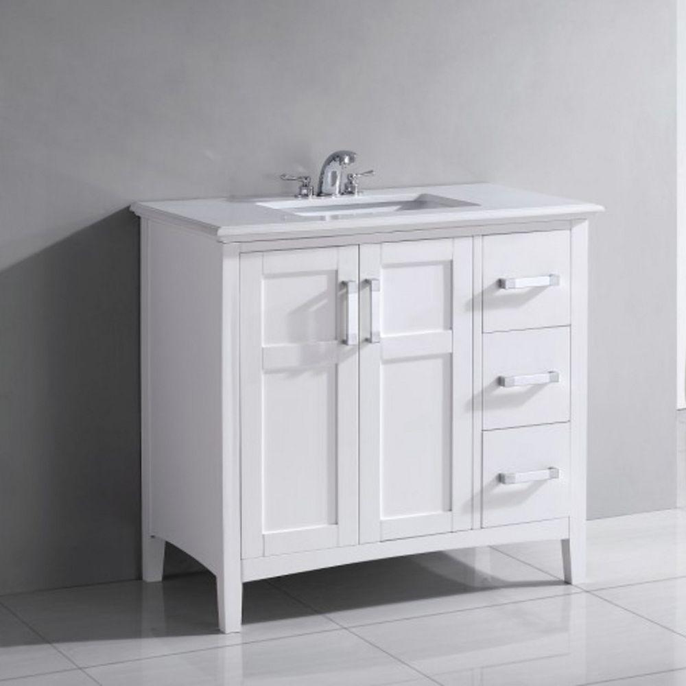 Simpli Home Winston 37-inch W 3-Drawer 2-Door Freestanding Vanity in White With Quartz Top in White