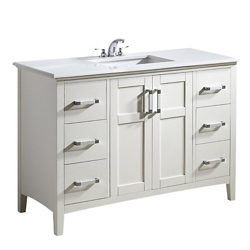 Winston 49-inch W 6-Drawer 2-Door Freestanding Vanity in White With Quartz Top in White