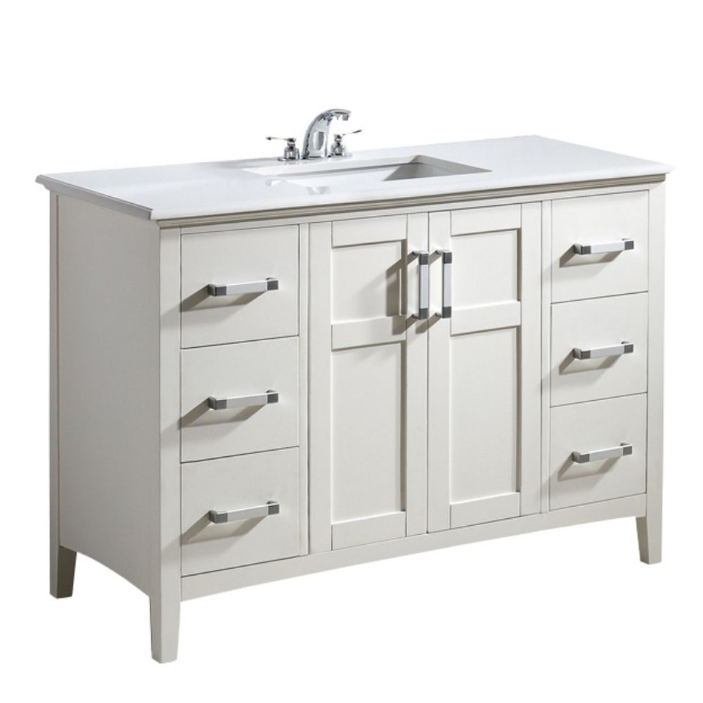 Simpli Home Winston 49-inch W 6-Drawer 2-Door Freestanding Vanity in White With Quartz Top in White